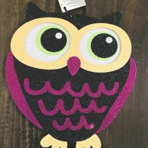 Other - NWT Halloween Glitter Owl Hanging Sign Decoration